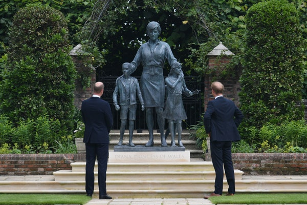 Prince Harry and Prince William unveiling Princess Diana's statue
